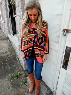 Ganado Print Cape Cardigan- Swanky Boutique We are in love with the colors and fit of this cape cardigan. Order yours today!