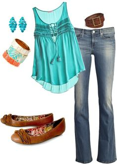 Turquise casual, created by sepperson on Polyvore