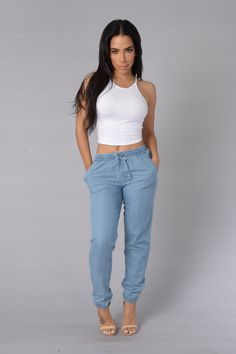 - Available in Indigo and Light - Soft and Lightweight - Elastic Waistband with Drawstring - Elastic Ankle Band - Front Hip Pockets - Faux Back Pockets - 100%Cotton