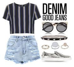 """""""Denim"""" by may-calista ❤ liked on Polyvore featuring Boohoo, Topshop, Erdem, Philipp Plein, Alexander McQueen, women's clothing, women, female, woman and misses"""