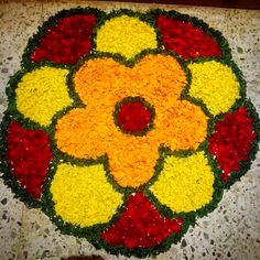 Flower rangoli diwali Rangoli Designs Flower, Rangoli Designs Diwali, Flower Rangoli, Festival Decorations, Flower Decorations, Pookalam Design, Rangoli Colours, Muggulu Design, Simple Rangoli