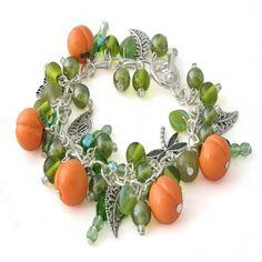 Peach Fruit Charm Bracelet for women, handmade fun charm jewellery by Lottie Of London
