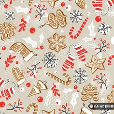 Gingerbread dreams by heather dutton © hang tight studio Christmas Design, Christmas Art, All Things Christmas, Christmas Themes, Christmas Patterns, Xmas Wallpaper, Christmas Phone Wallpaper, Iphone Wallpaper, Fabric Wallpaper