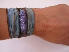 NEW!  Lavender Wrap Bracelet with Handmade Lavender Glass Bead by LavenderJewelry, Hand Dyed Silk Cord $34.00