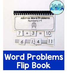 Practice solving simple word problems for students with special needs. Touch Math, Number Words, Writing Numbers, Addition And Subtraction, Word Problems, Special Needs, Special Education, Autism, Students
