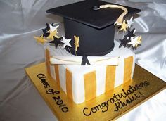 Black cap and square white and gold graduation cake. Black and gold graduation cake is perfect for your Manchester University graduation!