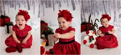 baby girl, dress, red, black, headband, flower, sled, presents, snowman, reindeer antlers, bells, photos, photography, winter, christmas, holiday
