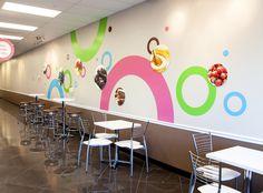 Whimsical frozen yogurt shop, branded interior