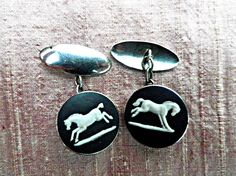 This is for the guy who loves horses - or just the finishing touch on those occasions when he has to dress up! #wedgwoodjewellery, #silvercufflinks Wedgwood silver cufflinks black jasperware bucking horse