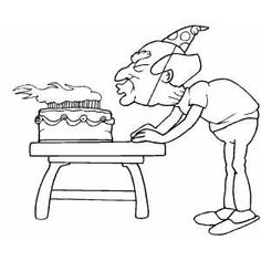 Old Man Blowing Out Candles