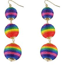 Pre-owned Rainbow Bead Dangle Earrings ($30) ❤ liked on Polyvore featuring jewelry, earrings, rainbow, dangle earrings, beads jewellery, fish hook jewelry, long earrings and rainbow earrings