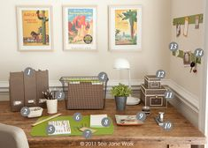 """This office decor is called """"Vintage Style""""-- perfect to go with my vintage desk, plus green and brown are my favorite colors, and I love the Southwest, so the pictures on the wall are perfect."""