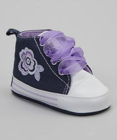Take a look at this Navy Blue & Purple Flower Sneaker by Vitamins Baby on #zulily today!