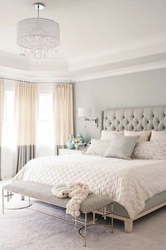 Master Bedroom With Pastel Color Grey Color Plus Bedroom Bench And Pendant Ligh Popular Bedroom Decorating With Pastel Color Ideas And Lighting Bedroom design Small Master Bedroom, Master Bedroom Design, Dream Bedroom, Home Decor Bedroom, Modern Bedroom, Bedroom Furniture, Pretty Bedroom, Minimalist Bedroom, Master Bedrooms