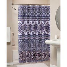 Vintage Boho Chic Medallion Paisley Pattern Grey Orange Fabric Shower Curtain 72 inches lenght.