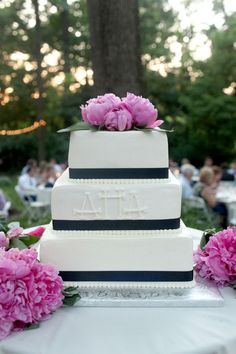 Another beautifully simple cake with navy...and love the peonies and monogram!