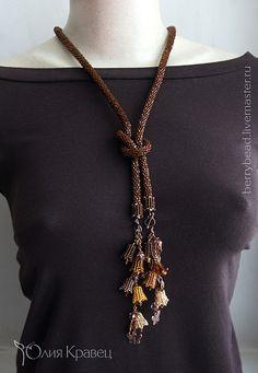 Beaded Jewelry, Jewelry Art, Bead Crochet Rope, Lariat Necklace, Beads And Wire, Bead Weaving, Fashion Necklace, Jewelery, Diamond