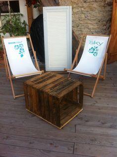Alte restaurierte Möbelstücke Unikate - Seifenkiste Tisch aus Obstkisten / Weinkisten