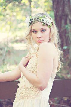 white bridal flower crown spring flower head by serenitycrystal, $85.00