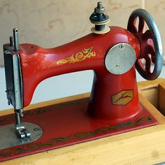 cute red vintage sewing machine