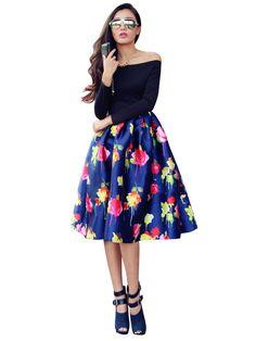 Wide Hem Off Collar Long Sleeve Floral Dress