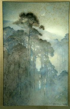 Painting: Alice Ravenel Huger Smith, Swamp at Night, n. Ooh, yes. Watercolor Landscape, Landscape Art, Landscape Paintings, Watercolor Paintings, Watercolours, Art And Illustration, Encaustic Art, Tree Art, Painting Inspiration