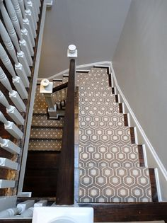Choosing a Stair Runner: Some Inspiration and Lessons Learned. a year after moving in, we replaced that wall-to-wall carpet with a stair runner. Patterned Carpet, House Design, Stair Runner Carpet, Remodel, Staircase Design, Transitional Decor, Hexagon House, Stairs, Stairways