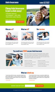 killer auto insurance converting responsive lead capture landing page design template