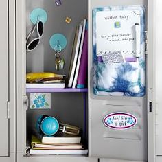 Organize your locker make it unique with Pottery Barn Teen's locker decorations. Find locker shelves and locker accessories to give your locker a boost of personality and style. Diy Organisation, Linen Closet Organization, Small Closet Organization, College Organization, Locker Shelves, Diy Locker, Locker Storage, Locker Stuff, Pb Teen