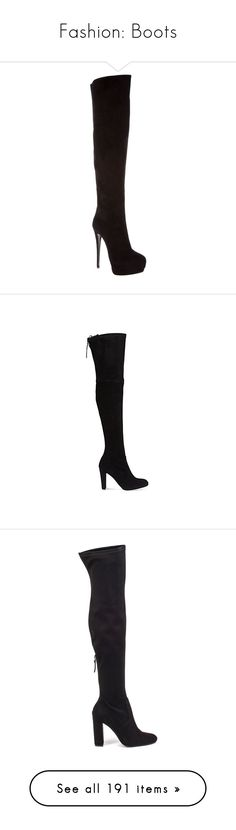 """""""Fashion: Boots"""" by katiasitems on Polyvore featuring shoes, boots, heels, giuseppe zanotti, zapatos, women, over the knee boots, suede thigh-high boots, thigh high boots and black suede boots"""