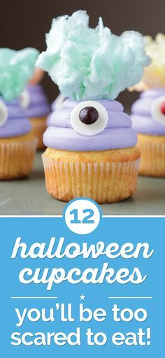12 Halloween Cupcakes You'll Be Too Scared to Eat! - thegoodstuff These 12 halloween cupcakes are almost too scary — and cute! — to eat, but kiddos and adults alike will love taking a bite out of these spooky sweet treats. Halloween Party Snacks, Halloween Desserts, Halloween Cupcakes, Spooky Halloween, Happy Halloween, Hallowen Food, Halloween Baking, Halloween Goodies, Vintage Halloween