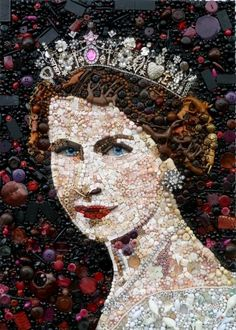 Queen Elizabeth II by Jane Perkins of the UK ~ portrait created using old toy pieces, buttons, etc.!