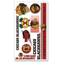Chicago Blackhawks Temporary Tattoos by Wincraft by WinCraft. $4.91. Cut-Out Tattoos. Clear, Protective Top Sheet. Includes Instruction for Easy Application and Removal. Easy to apply to skin in just 30 seconds, and when you're ready, removal can be done in 15 seconds!. On this tattoo sheet, you'll find an assortment of Chicago Blackhawks graphics that you can tempora. Features: * On this tattoo sheet, you'll find an assortment of Chicago Blackhawks graphics that...