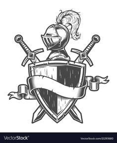 Mittelalterlichen Ritter Helm, Schild, gekreuzte Schwerter ...