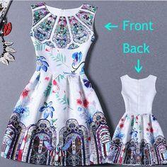 2017 Summer Dress Women Butterfly Sleeveless Casual Dresses Vestido de festa Ladies vintage print plus size jacquard clothing