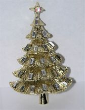Kramer of New York Clear Baguette Christmas Tree Pin ~ Book Piece...another tree to be featured in Gallina's 3rd edition book