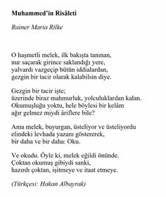 Rainer Maria Rilke MUHAMMED'İN YAKARIŞI