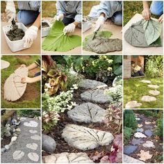 How to Make your own Leaf Stepping Stones (these are made with Rhubarb leaves) You'll Need: MATERIALS:  - rubber gloves  - heavy plastic sheeting  - leaves  - pre-mix concrete - One standard-size bag makes 3 leaves shown  - mortar - Chicken wire - wire cutters  Directions: http://ths.gardenweb.com/forums/load/kitchentable/msg0514085524332.html http://www.Budget101.com/