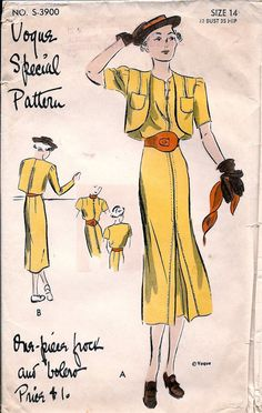 1930s Vintage Vogue Special Pattern S-3900 ** RARE ** One Piece Dress and Bolero…