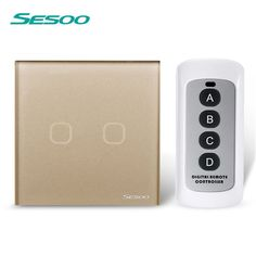 EU/UK Standard SESOO 2 Gang 1 Way Remote Control Switch ,Black Crystal Glass,Remote Wall Touch Switch+LED Blue Indicator