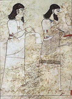 PINTURA ::: Técnica FRESCO -  Murales de Til Barsip en Mesopotamia (S.VIII-VII a.C.). - Se sospecha que fueron hechos al Fresco aunque algunos dicen que la capa de cal que la recubre es causada por acción del tiempo.