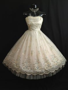Vintage 1950's 50's STRAPLESS Ivory Flocked Floral Chiffon Organza Party Prom Wedding Bridal Dress Gown. $349.99, via Etsy.