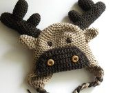 CROCHET PATTERN -  Moose or Reindeer Crochet Hat w/permission to sell finished items, via Etsy.
