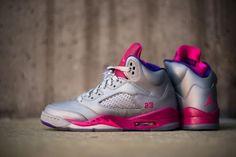 NIKE AIR JORDAN V RETRO GS CEMENT GREY/PINK FLASH-RASPBERRY RED-ELECTRIC PURPLE #sneaker