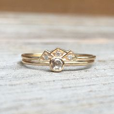 14k Crown Engagement Wedding Ring Set Dainty by LieselLove on Etsy