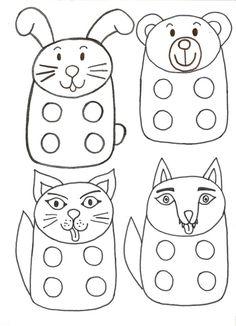 Vingerpopjes / fingerpuppets / prstové loutky Coloring Pages For Kids, Adult Coloring, Diy Paper, Paper Crafts, Finger Puppet Patterns, Sock Puppets, Stencil Templates, Bunny Crafts, Felt Patterns