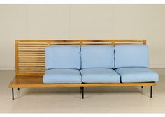 Italian Mahogany Veneer and Foam Cushions Sofa, 1960s for sale at Pamono
