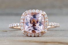14k Rose Gold Cushion Morganite Diamond Halo Engagement Ring Crown Diamonds