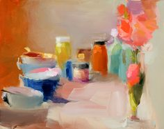 Zinnia and Teacups by Christine Lafuente