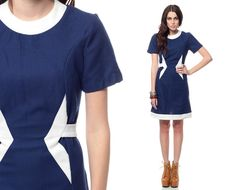 60s Mini Dress Mod SPACE AGE Belted Navy Blue White 1960s Shift Sixties Vintage Twiggy Short Sleeve Go Go MiniDress Small Medium